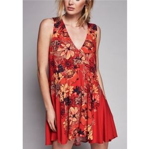 Free People Garden Print Red Tunic Swing Dress
